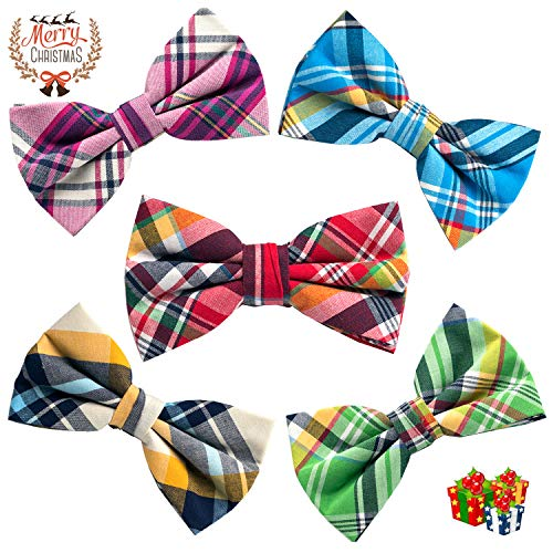 OUMUS 5 PC Mens Assorted Pattern Pre-Tied Adjustable Neck Tie Bowties, Gifts for Birthday, Chinese New Year and Holiday