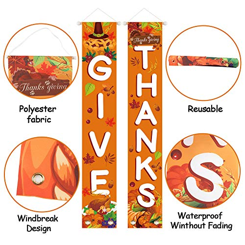 LovesTown Thanksgiving Front Porch Banner, 72inches GIVE Thanks Hanging Banner Thanksgiving Door Decorations Autumn Door Sign Thanksgiving Porch Sign for Fall Party Home Yard Indoor Outdoor Wall Door