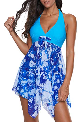 SENSERISE Womens Halter Swimdress 2 Piece Swimwear Print Tankini Swimsuit with Boyshort(Light Blue,Medium)