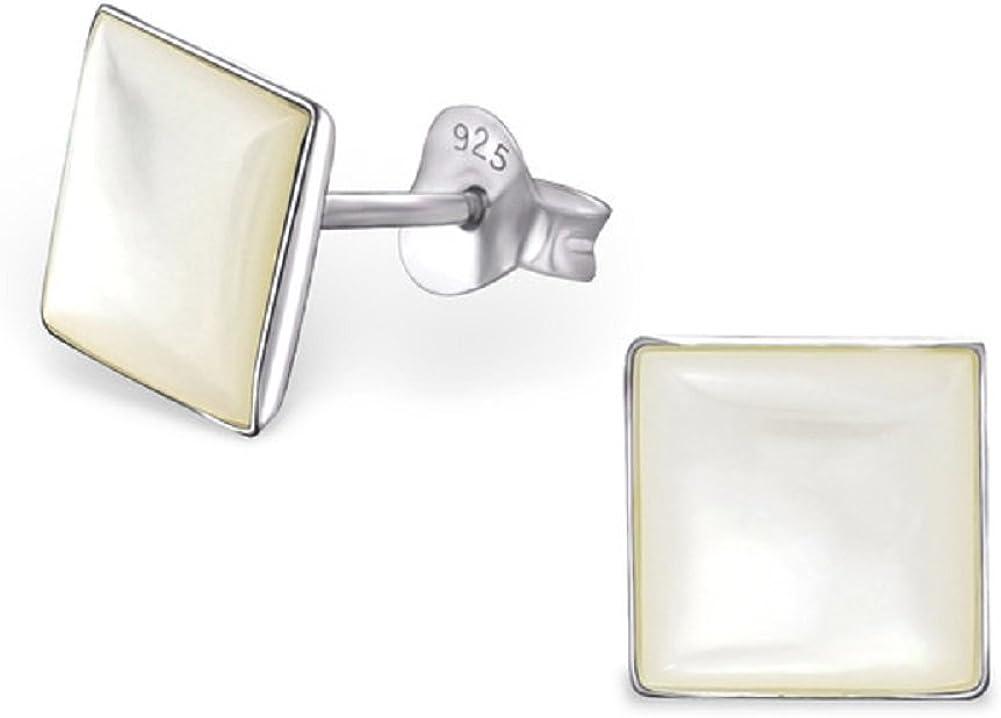 Laimons Pendientes para mujer Perla de agua dulce cuadrado Plata de ley 925