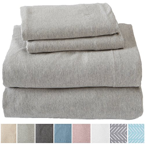 - Great Bay Home Extra Soft Heather Jersey Knit (T-Shirt) Cotton Sheet Set. Soft, Comfortable, Cozy All-Season Bed Sheets. Carmen Collection Brand. (Full, Light Grey)