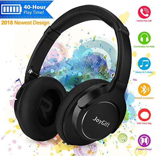 Bluetooth Headphones,Wireless Headphones Over Ear Headphones,HiFi Stereo Bluetooth Headset with Microphone/Wired Mode,Foldable,Soft Memory-Protein Earpads,40-Hour Play Time for PC/Cell Phones/TV Black