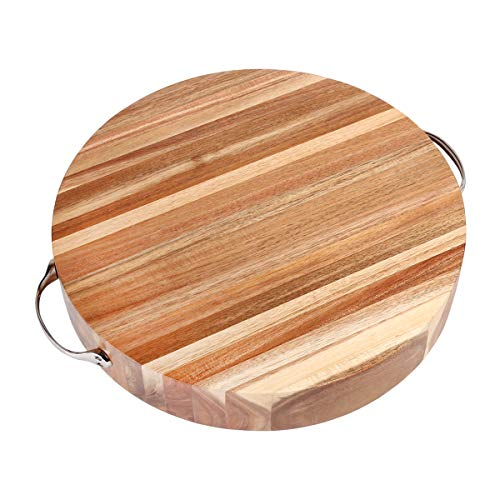 (Creative Home 42034 Acacia Wood Round Cutting Board Chopping Block with Chrome Finish Metal Handles 14-3/4