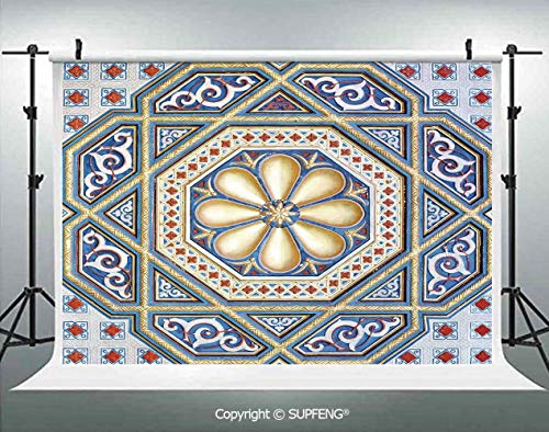 (Photo Backdrop an Image of a Beautiful Moorish Carving Art Flower Doorway Entrance Geometric Decorative 3D Backdrops for Interior Decoration Photo Studio)