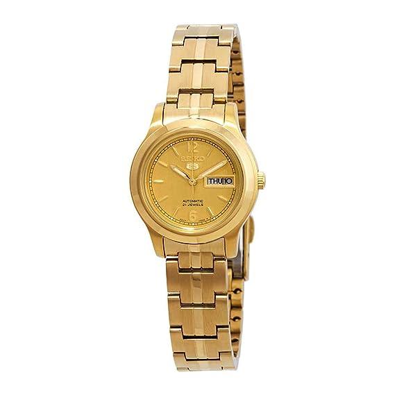 Seiko SYME02 Serie 5 - Reloj automático para mujer, esfera dorada: Amazon.es: Relojes