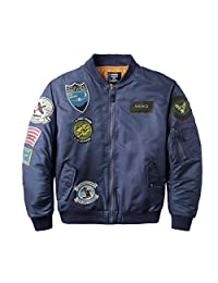 Neo-wows Men's MA-1 Slim Fit Bomber Flight Jacket with Patches