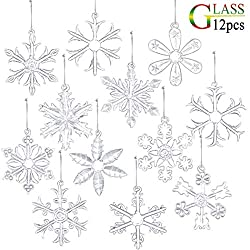 Clear Glass Snowflake Ornaments