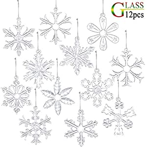 glasburg 2″ Clear Glass Snowflake Ornaments Pack of 12