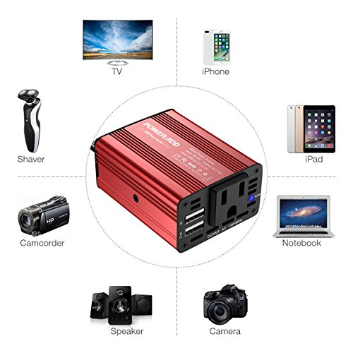Poweradd 150W Car Power Inverter 12V/DC to 110V/AC Converter with Dual USB Ports (3.1A Total) for Smartphones, Tablet, Laptop, Breast pump, Nebulizer and More - Red by POWERADD (Image #8)