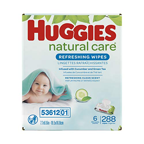 Baby Wipes, Huggies Natural Care Refreshing Baby Diaper Wipes, Hypoallergenic, Scented, 6 Flip- Top Packs (288 Wipes Total)