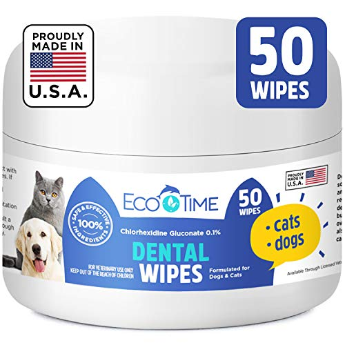 EcoTime Dog Cat Dental Wipes for Teeth - Pet Teeth Cleaning Plaque Remover Attack Tartar Calculus & Bad Breath - Care and Freshener with Chlorhexidine Antibacterial - Prevent Tooth Decay Made in USA