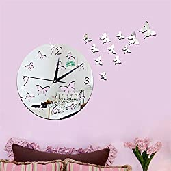 Modern Silent DIY Wall Clock 3D Butterfly Shape Mirror Surface Wall Stickers Clock for Living Room Bedroom Home Decoration (Silver)