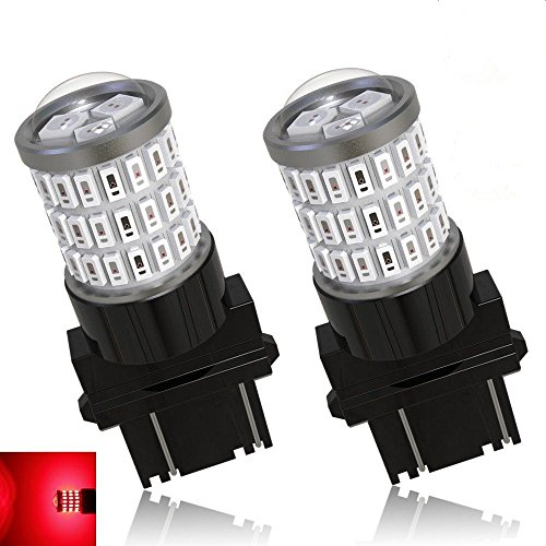 AnTo 2 Pcs 3157 54SMD LED Bulb Lumens Super Bright 9-30V Non-Polarity,Replacement for 3156 3057 3056 for Back Up Reverse Lights, Tail Brake Lights ,Fog lights (Red) - Heater Lever Motor