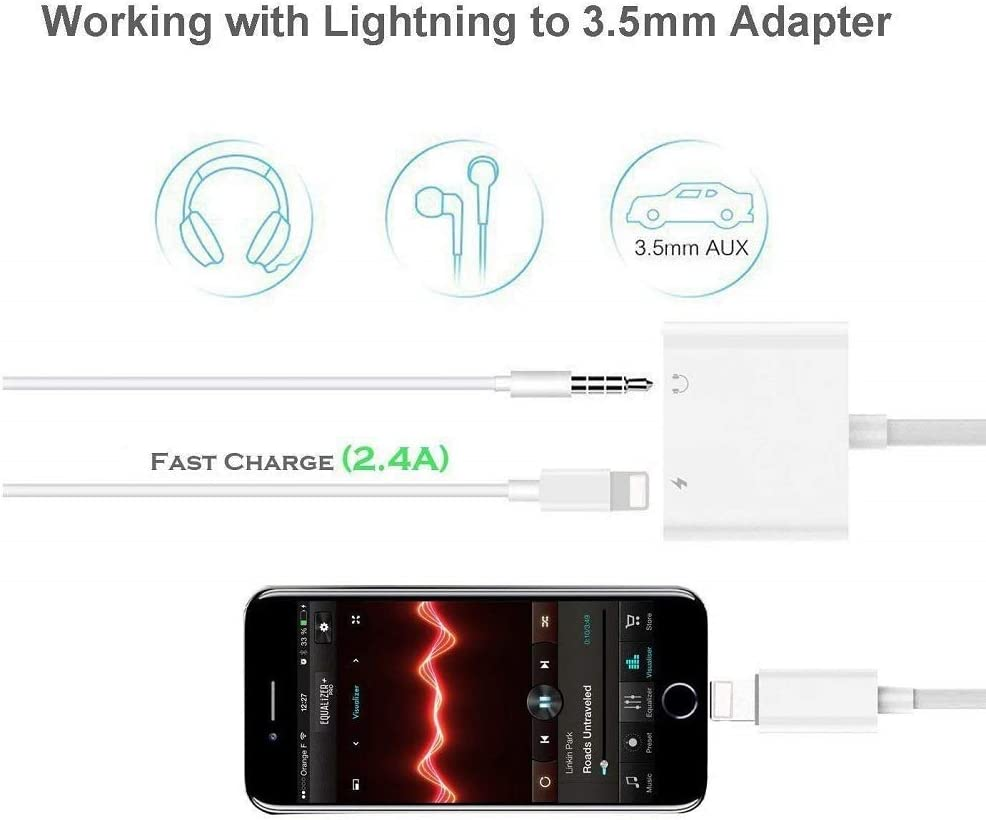 Headphone Jack Adapter Dongle for iPhone 7//7 Plus//8//8 Plus//X//Xs//XR//Xs Max Adapter to 3.5mm Jack Converter Fast Car Charger Accessories Cables /& Audio Connector 2 in 1 Earphone Splitter Cable