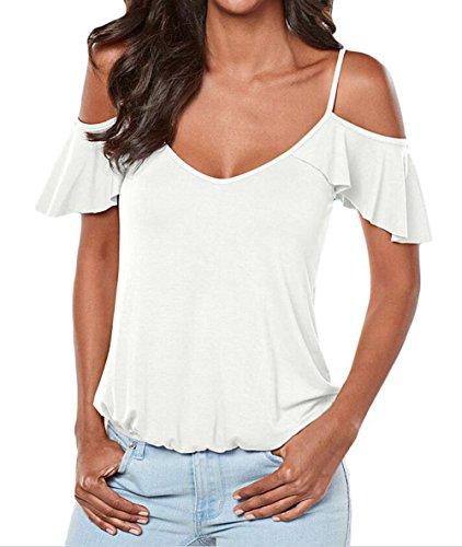 DINGANG - Camiseta - Manga corta - para mujer blanco
