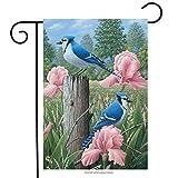 HomeSweety 1 Jays Spring Garden Flag Welcome Floral 12.5″ x 18″ Briarwood Lane Blue, Black For Sale