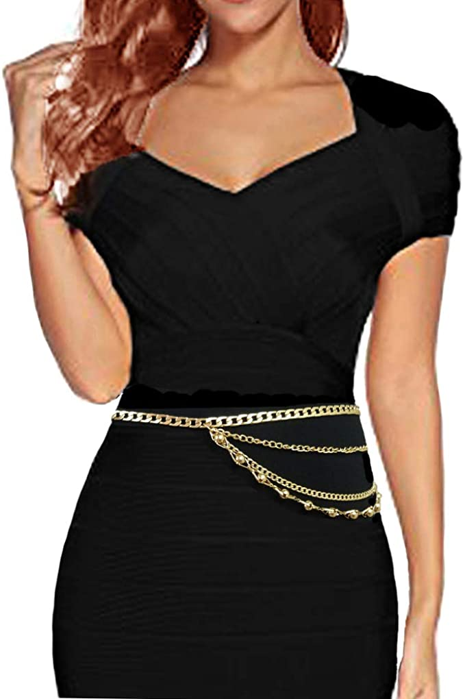 Chic Gold Waist Chain Metal Chain Belt Body Belly Chain Plus Size for Women skirt