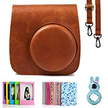 Fujifilm Instax Mini 8 Instant Camera Accessory Bundles Set (Included: Brown Mini 8 Vintage Case Bag/ Pink Rabbit Design Mini 8 Close-Up Lens(Self-Portrait Mirror)/ 3 Inch Photo Frame/ Colorful Decor Sticker Borders)