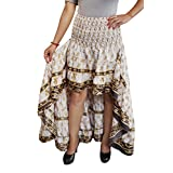 Mogul Interior Womens Bellydance Skirt Beige Recycled Sari Free Ruffle Maxi Skirts