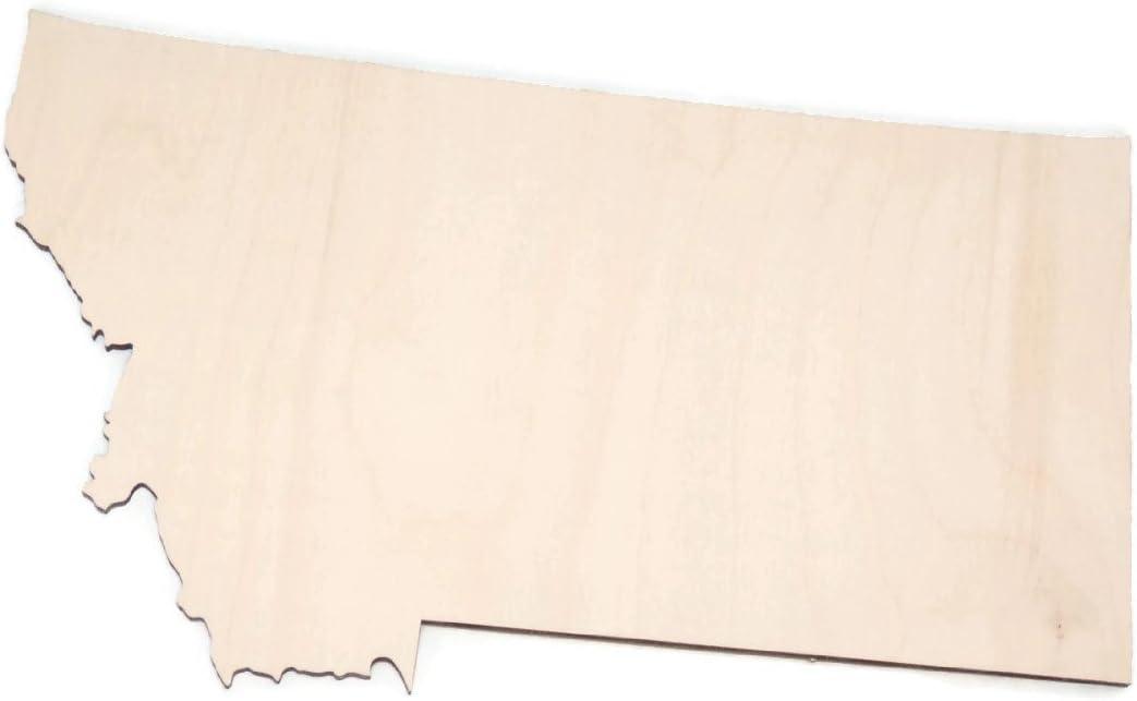 "Gocutouts Montana State 12"" Cutout Unfinished Wood/Wooden Baltic Birch 1/4"" Cutout DIY Home Decor USA Made (Montana)"