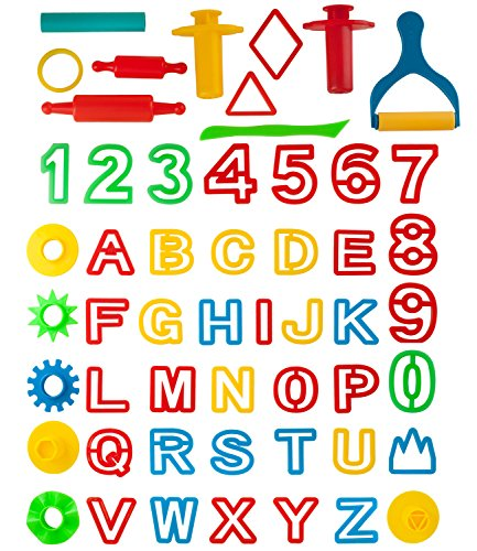 Kiddy Dough 42-Piece Play Dough Tool Kit & Clay Pack w/Letters and Numbers
