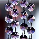Kamas tools - 25m/Lot Violet Nice Crystal Octagon Beads Garland Strands,Crystal Chandelier Parts,Diy Beads Curtain Suncatcher