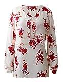 Regna X Boho for Women Chiffon Loose Long Sleeve Chiffon Tunic Blouses Shirts Tops Ivory Flower Pattern 3XL Large Plus Size