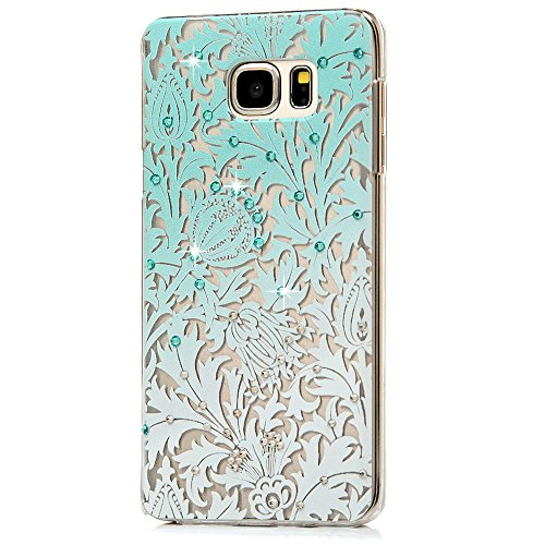 Note 5 Case, Galaxy Note 5 Case - Maviss Diary 3D Handmade Bling Crystal Shiny Rhinestone Diamonds Special Hollow Floral Gradient Pattern Hard PC Cover Clear Case for Samsung Galaxy Note 5
