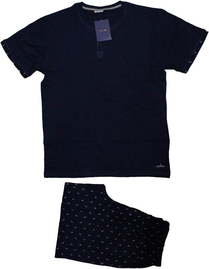 Russo Tessuti Pigiama Uomo Mezza Manica Cotone Pantalone Corto Estivo 071 You/&Me-Blu-XL