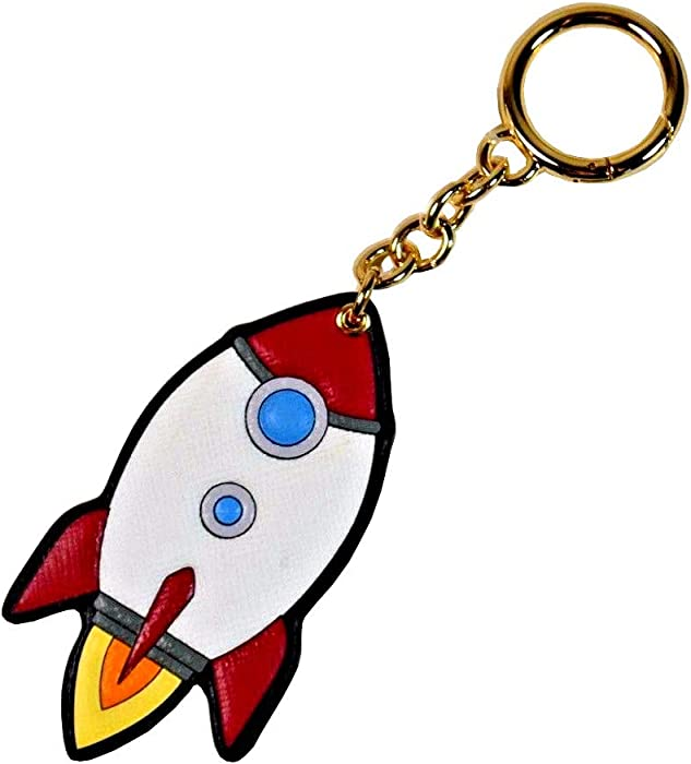 MICHAEL KORS Leather Rocket Charm Key Fob in Red