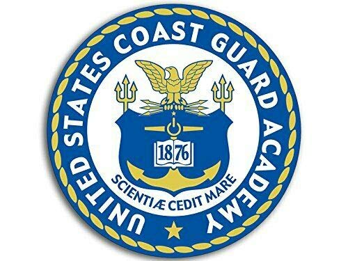 MAGNET 4x4 inch Round United States Coast Guard Academy Seal Sticker (USCG Logo) Magnetic vinyl bumper sticker sticks to any metal fridge, car, signs