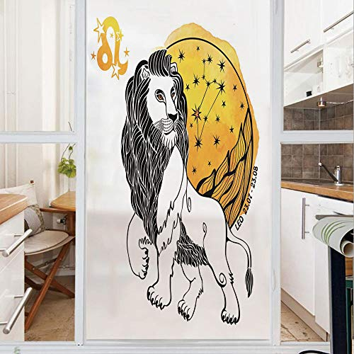 Decorative Window Film,No Glue Frosted Privacy Film,Stained Glass Door Film,Royal Leader of Zodiac Leo Symbol with Giant Sun and Stars Birth Fortune Image,for Home & Office,23.6In. by 47.2In - Zodiac Glass Stained