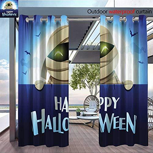 QianHe Dance Outdoor Indoor Curtain - Happy-Halloween-Mummy-with-Big-Signboard-in-The-Moonlight-.jpg Waterproof