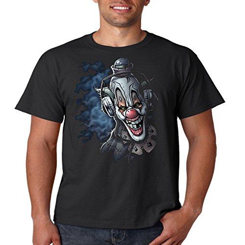 Cool T Shirt DJ Clown Headphones Liquid Blue Mens Tee S-5XL (Black, 5XL) ()