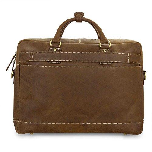 STILORD Cartella / Valigetta / Borsa a tracolla Notebook Bag (15'') / Messenger Bag / Borsa per l'università in vera pelle marrone