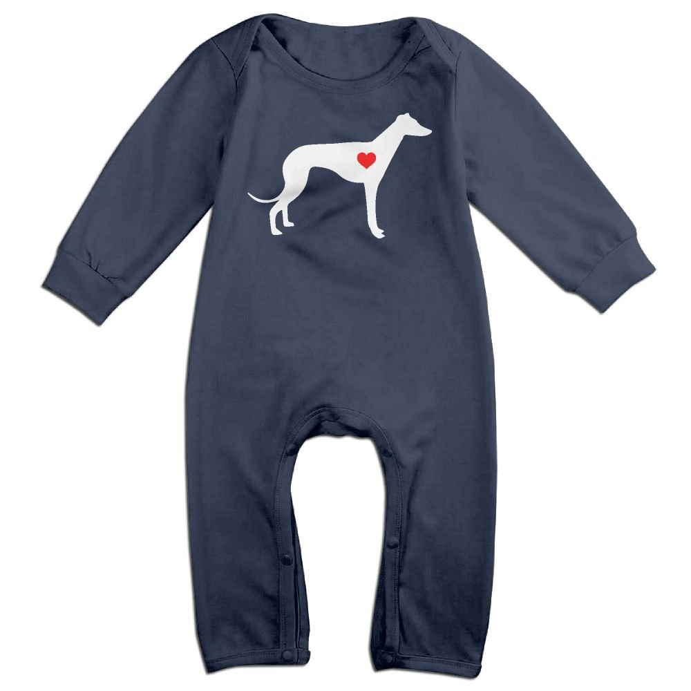 Mri-le1 Baby Boy Long Sleeved Coveralls Greyhound Dog Heart-1 Baby Clothes