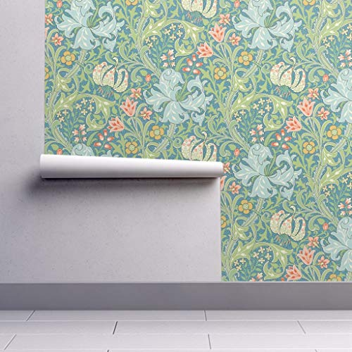 Lily Nouveau - Removable Water-Activated Wallpaper - William Morris Golden Lily Art Nouveau Floral Damask Large by Peacoquettedesigns - 24in x 108in Smooth Textured Water-Activated Wallpaper Roll