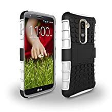 LG G2 Case [iCoverCase] Heavy Duty Armor Hybrid [Dual Layer] KIickstand Back Holster Shockproof Cover Protecive Case for LG G2 ( D800,D802,D801,D802TA,D803,VS980,LS980 ) (White)