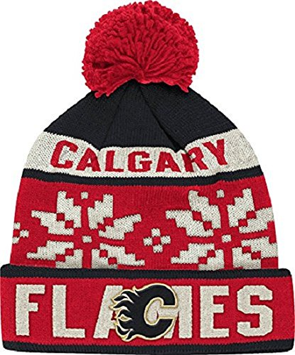 Reebok NHL Calgary Flames Men's Face-Off Winter Cuffed Pom Knit Beanie, One Size, Red