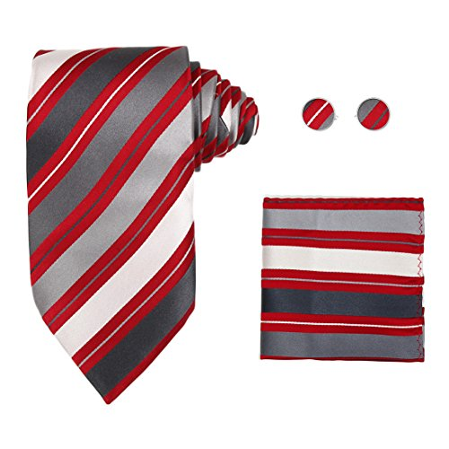 Y&G H5127 Red Striped Halloween Thanksgiving Day Gift Idea Silk Tie Cufflinks Hanky Set 3PT ()