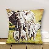 Lovely Elepahant familia Prairie de elefante 3 fundas de almohada decorativa 18 x 18 lienzo manta…