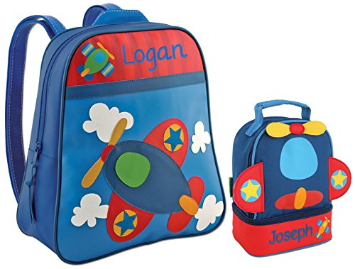 Personalized Airplane Back to School Backpack Bundle (2 items) with Embroidered Names