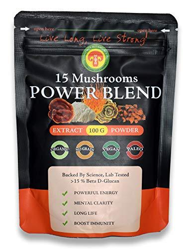 (Longevity Botanicals 15 Mushroom Powder Extract Organic No Filler High Potency, Power Energy Stamina Clarity Calm Immunity Superfood, Adaptogen, Nootropic Supplement Anti-Oxidant Anti-Aging)