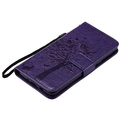 SRY-Funda móvil Samsung Para Samsung Galaxy J5 2017 Case, TPU / cuero de la PU en relieve patrón de flores cubierta de la caja con la función de la carpeta y el acollador y titular y Kickstand caracte Purple