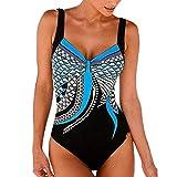YOcheerful Women Tankini Set, Womens Summer Backless Bathing Suit Sexy Swimwear Tankini Beachwear Swimsuit Tankini (Blue,L)
