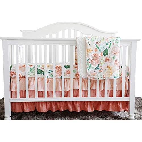 Secret Garden Coral Floral Ruffle Baby Minky Blanket Water Color, Peach Floral Nursery Crib Ruffle Skirt Set Baby Girl Crib Bedding (Secret Garden 3 Pieces Set) from Sahaler