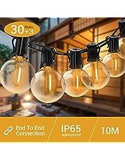 Elegear G40 Guirnaldas Luminosas de Exterior y Interiores,Cadena de Bombillas,10M Cadena de Luz con 30+3 LED Bombillas, Guirnalda Luces para Festivales, Bodas, Jardín, Patio(10M 30LED)