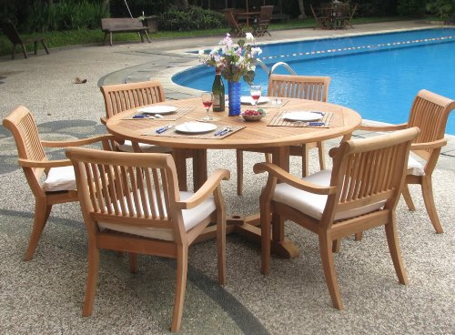 New 7 Pc Luxurious Grade-A Teak Dining Set – 60 Round Table And 6 Stacking Arbor Arm Chairs WHDSAB7