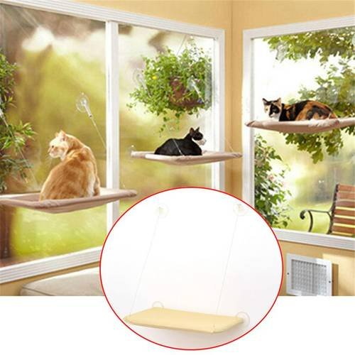 Alisaouse Cat Bed, Cat Window Perch Window Seat window Suction Cup Sunny Seat Window Hanging Shelf Seat Cat Hammock Pet Resting Seat Safety Cat Shelves - Providing all Around 360° Sunbath for Cats