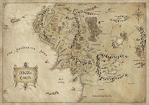 Poster Seigneurs des anneaux carte monde terre du milieu Middle earth mordor maps